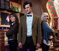 The Doctor, Sarah Jane, Jo and Mr Smith