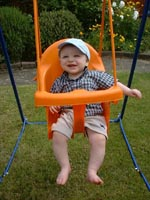Playing on his swing